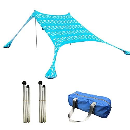 HEXLONG Toldo de licra premium para playa, resistente al viento, para pesca, camping, salidas familiares o viajes