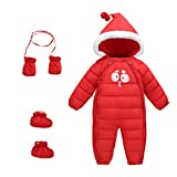 Baby Winter 3 Piece All in One Hooded Snowsuit Puffer Romper Thick Down Jumpsuit Sleepsuit Bodysuit Padding Onesie Warm One-Piece with Gloves and Shoes Red Size 110