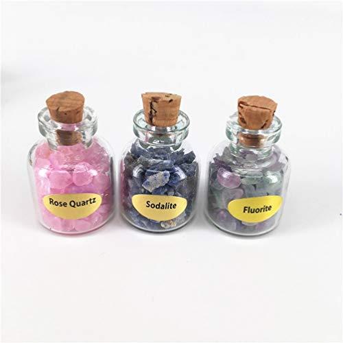 Healifty Pequeños frascos de cristal con corcho y piedras preciosas para niños, niñas, amantes, cumpleaños, joyas, decoración, manualidades, 9 unidades
