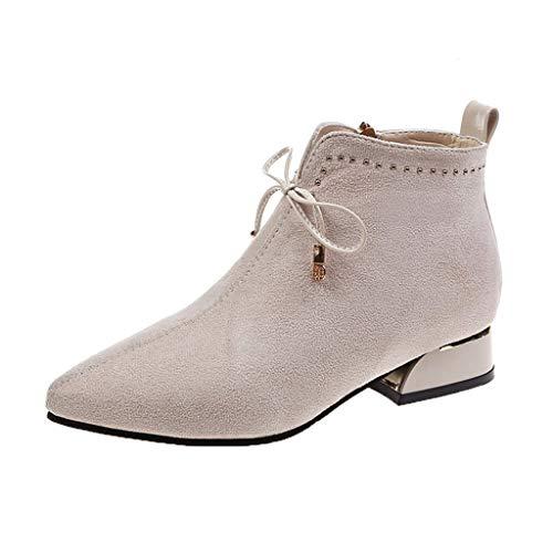 Luckycat Mujer Botas Cordones Plataforma Botin Plataforma Cordones Tacon Ancho Zapatos Remache Botines Mujer Tacón Medio Chelsea Piel Elásticos 3 Cm Zapatos De Botas Comodos Fiesta Vintage