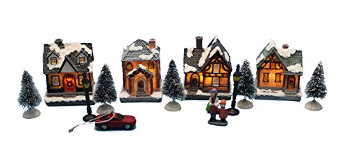 innodept12 Lighting up DIY Christmas Doll Figurine Tiny Resin House Village (House Village Building Set of 4)