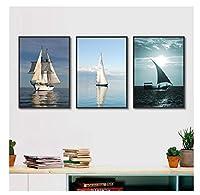 Chenjiaxu 海とヨットのポスタープリント風景キャンバス絵画写真廊下ホームウォールグラフィティアートベッドルームモダンな装飾カスタム-40X60Cmx3フレームなし