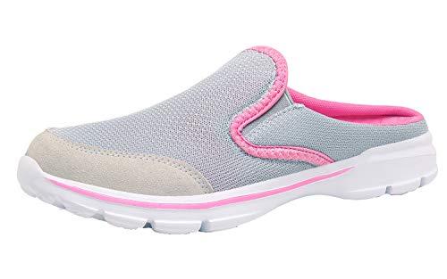 ChayChax Zapatillas de Estar por Casa para Mujer Hombre Zuecos Cómodos Suave Pantuflas de Interior Exterior Antideslizante Ligero Planos Zapatos de Casa, Gris, 38 EU
