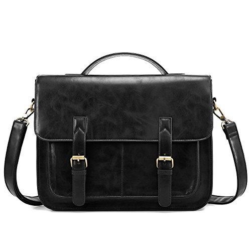 ECOSUSI Messenger Bag PU Leather Laptop Briefcase 14 inch Computer Shoulder Satchel Bag for Women and Men, Black