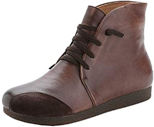 ZHRUI Frauen Frauen Frauen braun Stiefel Flache Schnürschuhe aus Leder (Farbe   Braun, Größe   EU 40)  Viel Spaß beim Einkaufen