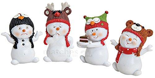 matches21 Schneemann Deko Figuren Tiermotiv Wintermützen Weihnachten Dekoration 4er Set aus Kunststoff je ca. 4x3x6 cm
