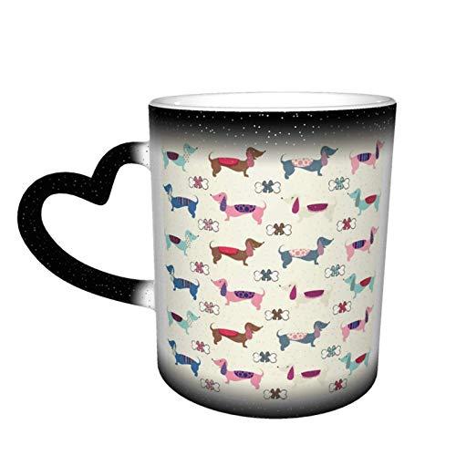Taza de café con diseño de arco Dachshund, diseño de taza de cerámica sensible al calor, taza que cambia de color en el cielo, 11 oz