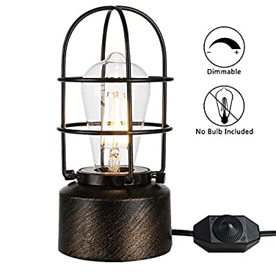 Yueximei USB Vintage Desk Lamp Small Industrial Light Touch Control Dimmable Table Lamp,Steampunk Accent Light Edison Lamp,with E26 Edison Base Decoration for Bedroom Living Room(No Bulb Included)