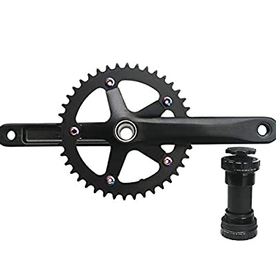 GANOPPER 42T Single Speed Crankset with Bottom Bracket 170mm 130 BCD Fixie Fixed Gear Bike 1X Crankset Crank Arm Set