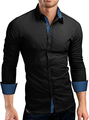 Grin&Bear Slim Fit Kontrast Hemd Herrenhemd, Langarm, Schwarz-Petrol, M, SH510
