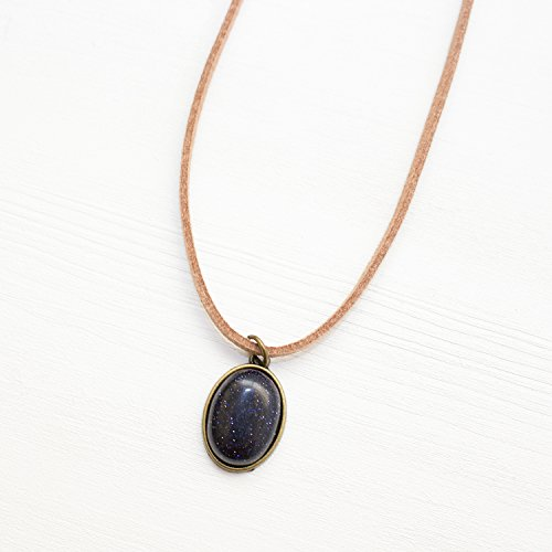 Dark Blue Stone Choker - Tan Vegan Leather Suede Lace Choker - High Quality Blue Goldstone Gemstone Jewelry Handmade in the US
