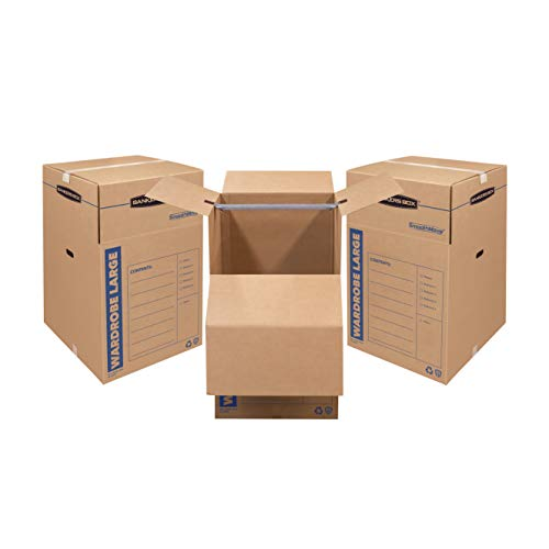 Bankers Box SmoothMove Wardrobe Moving Boxes Tall 24 x 24 x 40 Inches 3 Pack 7711001