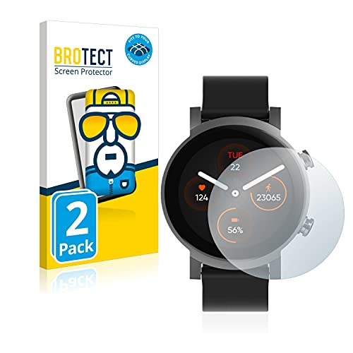 BROTECT Full-Cover Schutzfolie kompatibel mit Mobvoi Ticwatch E3 (2 Stück) - Full-Screen Bildschirmschutz-Folie, 3D Curved, Kristall-Klar