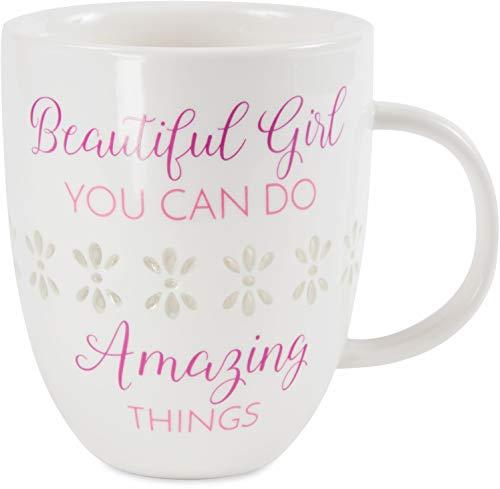 Pavilion Gift Company Pavilion-Beautiful Girl You Can Do Amazing Things-24 oz Large Thin Porcelain Coff Mug 24 oz Pink