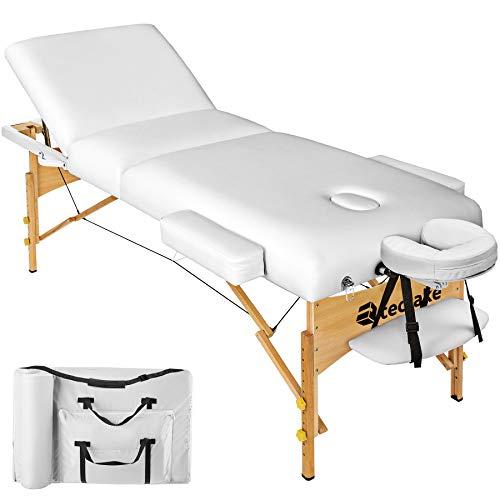 TecTake Massageliege mit 10cm reiner Polsterung + Tasche & Alukopfstütze - diverse Farben (Weiß)