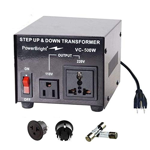 PowerBright Step Up & Down Transformer, Power ON/Off Switch, Can be Used in 110 Volt Countries and 220 Volt Countries, Convert from 220-240 Volt to 110-120 Volt AND from 110-120 Volt to 220-240 (500W)