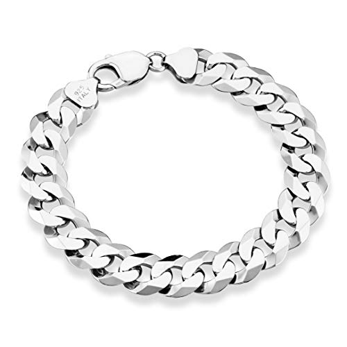 Miabella 925 Sterling Silver Italian 12mm Solid Diamond-Cut Cuban Link Curb Chain Bracelet, 7.5, 8, 8.5, 9 Inch Jewelry For Men Made in Italy (9, sterling-silver)