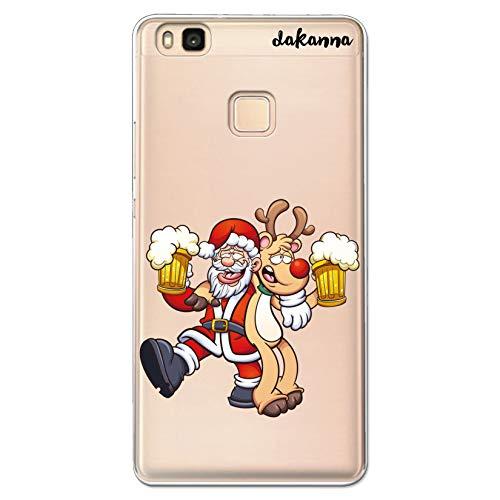 dakanna Funda Compatible con [Huawei P9 Lite] de Silicona Flexible, Dibujo Diseño [Papa Noel y Reno Bebiendo Cerveza], Color [Fondo Transparente] Carcasa Case Cover de Gel TPU para Smartphone