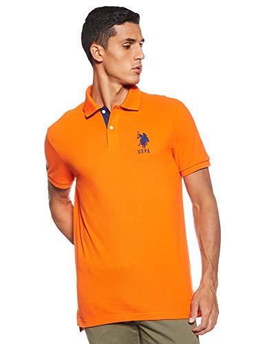 U.S. Polo Assn. Men's Slim Fit Solid Short Sleeve Pique Polo Shirt, Light House Orange-6543, X-Large