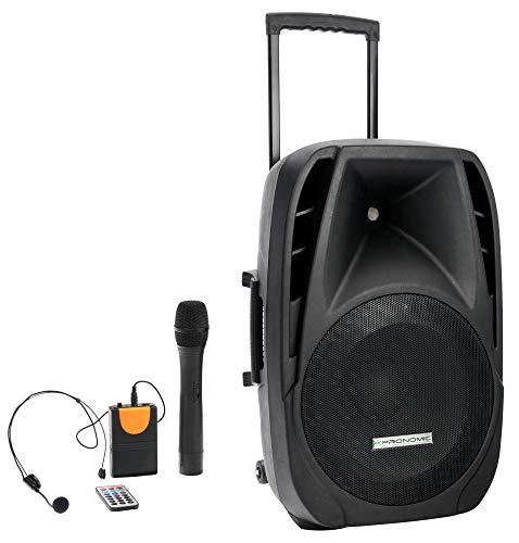 "Pronomic PH15AW Akku-Aktivbox 15\"" (Trolley Box, 15\"" Speaker, 100 Watt (RMS), 5 Stunden Laufzeit, Bluetooth, MP3/SD/USB-Player, inkl. Funkmikrofon, Headset, Fernbedienung)"