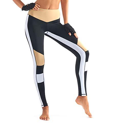 Vintree Leggings Deportivos con Paneles para Mujer Leggings Mujer Fitness Mallas Deportivas de Mujer Pantalones elásticos de Yoga con Bolsillos Polainas de Yoga Fitness (Negro + Blanco + Beige,XS)