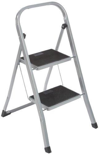 axentia Trittleiter 2 Stufen klappbar, Klapptritt aus Metall mit Haltebügel und gummierten Stufen, Klapptreppe bis 150 kg, silberfarben / schwarz