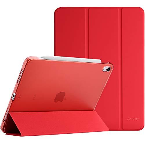 ProHülle Hülle für iPad Air 4 Generation 10.9 Zoll 2020, Schutzhülle Hülle(Unterstützt 2. Gen iPencil Aufladen), Ultra Dünn Leicht Ständer Schal Smart Cover mit Transluzent Frosted Rück -Rot