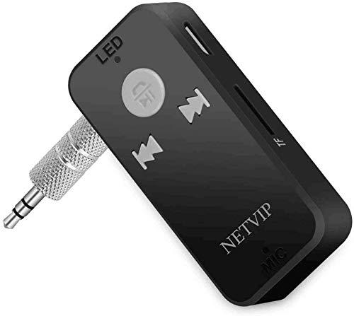 Receptor Bluetooth Adaptador Audio Música Inalámbrico Kit Bluetooth Manos Libres Kits Micrófono Incorporado con Salida Estéreo 3,5mm Aux Jack para Casa y Sistema de Audio Estéreo de Coche