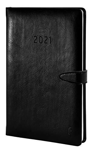 Chronoplan 50801 Buchkalender Kalendarium 2021, A5 Hardcover Lederimitat, Wochenplaner (140x215mm, 1 Woche auf 2 Seiten), schwarz