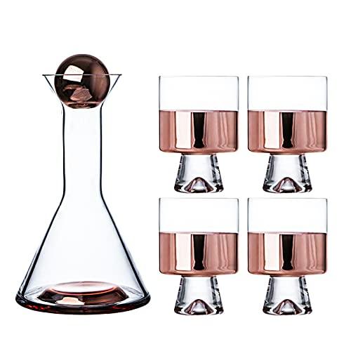 decantadores de Vino Decantador de Vino Ligero Conjunto Jarra de Vidrio para el hogar Copa de Vino Tinto,Rose Gold