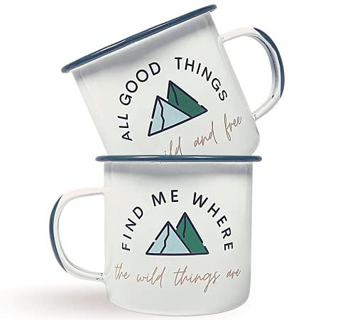 Vie de Montagne - Juego de 2 tazas esmaltadas para acampar, tazas de café de 12 onzas