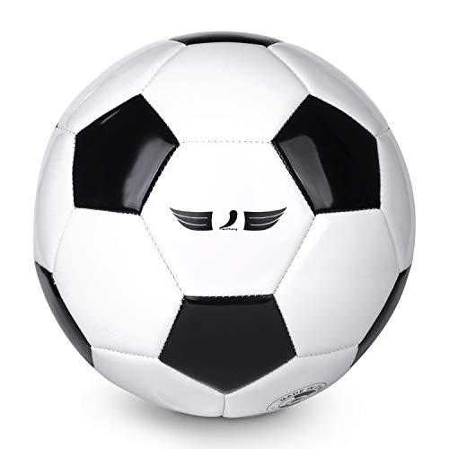 TianCheng, pallone da calcio in PVC+EVA misura 4, morbido, leggero, adatto per allenamento di calcio, squadra professionale per interni ed esterni, colore: nero e bianco, taglia 4