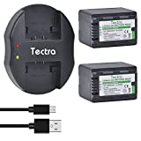Tectra 2-Pack VW-VBK360 Battery and USB Dual Charger for Panasonic HC-V10, HC-V100, HC-V100M, HC-V500, HC-V500M, HC-V700, HC-V700M, HDC-HS60, HDC-HS80, HDC-SD40, HDC-SD60, HDC-SD80