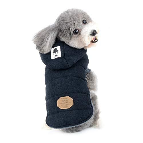 Zunea Hunde Wintermantel für Kleine Hunde, Chihuahua Kleidung, Weich Fleece Welpenmantel Kapuzenpullis Winddicht Katzen Hundeweste Winterjacken Hundemantel für Puppia Schwarz L