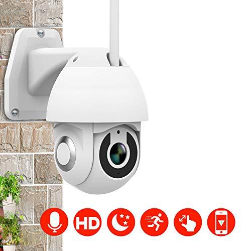 HD Waterdichte Webcam, 1080P Draadloze WiFi Remote Surveillance Camera Nachtzicht Twee-weg Audio Bewegingsdetectie Alarm Ondersteuning Indoor en Outdoor Gebruik 1080P Kleur: wit