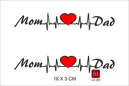 ISEE 360 Mom Love Dad Bike Sticker, 0.01 x 7.08 x 1.18 Inches, Black Red