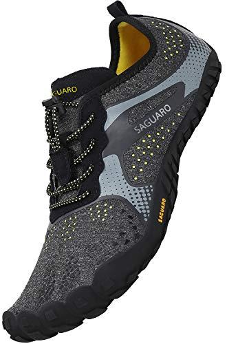 SAGUARO Adolescentes Barefoot Zapatillas de Trail Running Resistente al Desgaste Zapatos Descalzos Secado Rápido Zapatos de baño Senderismo Montañismo, Negro 39