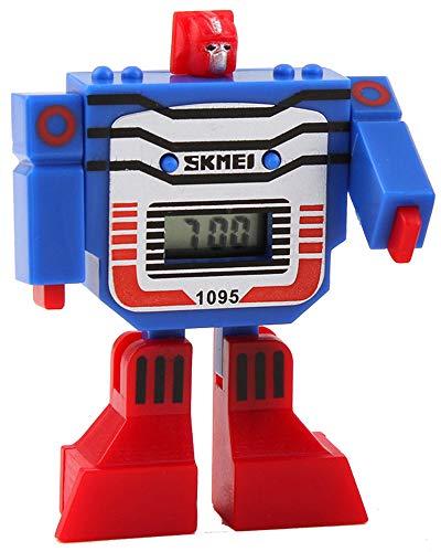 Fanmis Kids LED Digital Cartoon Sports Robot Transformation Toys Boys Wrist Watch Blue