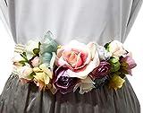 BRANDELIA Cinturones de Flores para Vestidos de Fiesta Mujer Cinturones Elásticos Mujer con Flores Artificiales, Cinta Rafia Tonos Pasteles