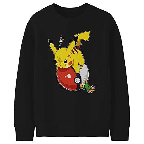 Okiwoki Pull Enfant Noir Parodie Pokémon - Pikachu et Sasha - Vengeance !!! : (Sweatshirt de qualité Premium de Taille 11-12 Ans - imprimé en France)