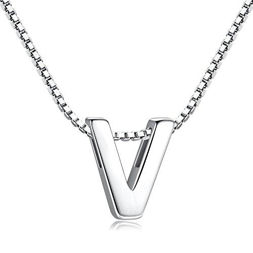 Candyfancy de Plata de Ley 925 Alfabeto de Letras Iniciales Collar Colgante A-Z para niñas (Letra V Collar)
