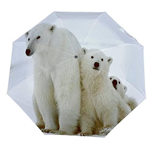 Paraguas anti-UV para sol/lluvia,Familia de osos polares con dos pequeños cachorros de oso alrededor de la Paraguas de viaje a prueba de viento: compacto, automático.