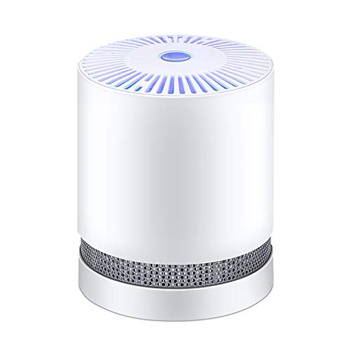 Air Purifiers with True Hepa Filters,Compact Desktop Purifiers Filtration with Night Light,no Ozone,Air Cleaner for Pets Dander,Cooking,Smokers,Dust,White