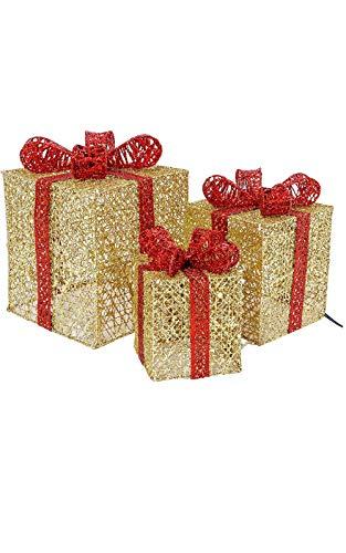ZXYSHOP Juego de 3 Cajas de Regalo iluminadas Cajas de LED pre-iluminadas Paquetes navideños Regalos Decorativos iluminados con oropel y Lazo para decoración navideña