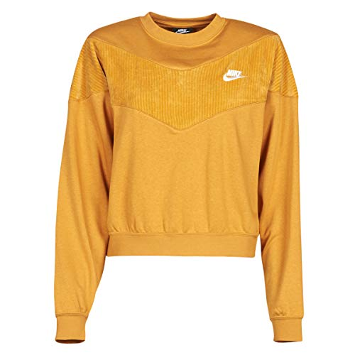 Nike W NSW Hrtg Crew Velour - Sudadera para mujer (talla M), color mostaza