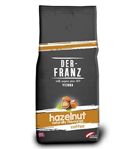 Der-Franz Kaffee, Mischung aus Arabica und Robusta, geröstet, ganze Bohne aromatisiert mit natürlicher Haselnuss UTZ, 1000g