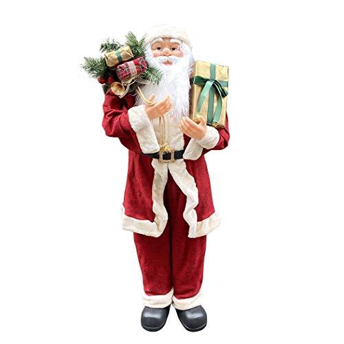 Mediawave Store - Babbo Natale Gigante 120 cm 144114 con Borsa Ideale Come Addobbo Natalizio, Allestimento Natalizio per Casa, Negozio, Vetrina, con Suoni e Luci, Statua di Babbo Natale