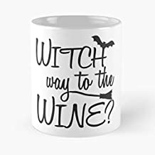 Witch Way To The Wine Classic Mug -11 Oz Coffee - Funny Sophisticated Design Great Gifts White-situen.