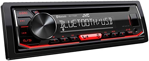 JVC KD-T702BT CD-Autoradio met Bluetooth Handsfree Luidspreker, High-Performance Tuner, Soundprocessor, USB, Android & Spotify Control, 4X50 Watt, Rood/Zwart