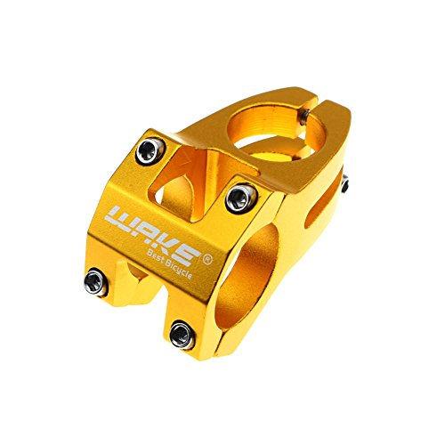 Wake 31.8 Stem 45mm Bike Stem Mountain Bike Stem Short Handlebar Stem for Most Bicycle, Road Bike, MTB, BMX, Fixie Gear, Cycling (Aluminum Alloy, Gold)
